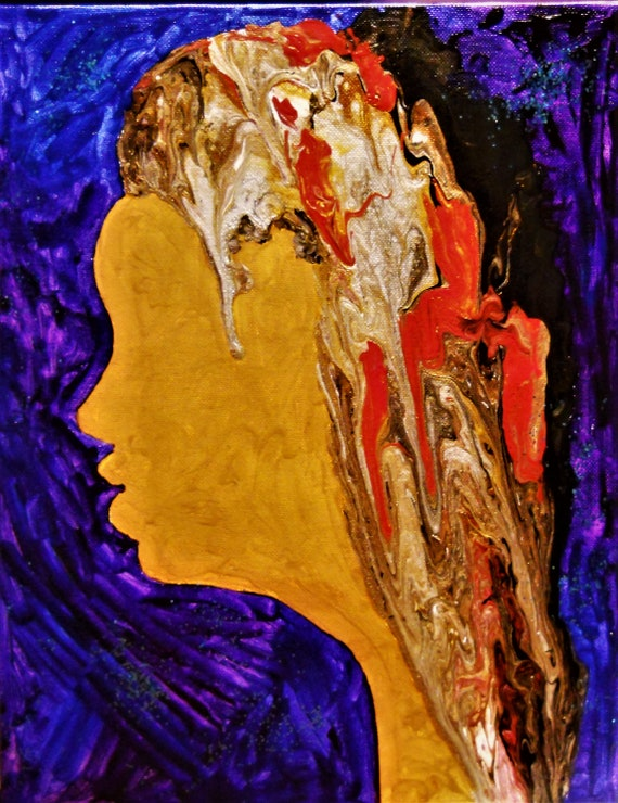 "INDIGENOUS, Acrylic Pour Portrait on 14 x 11"" canvas panel, Outsider Folk Art, African American Folk Artist Stacey Torres"