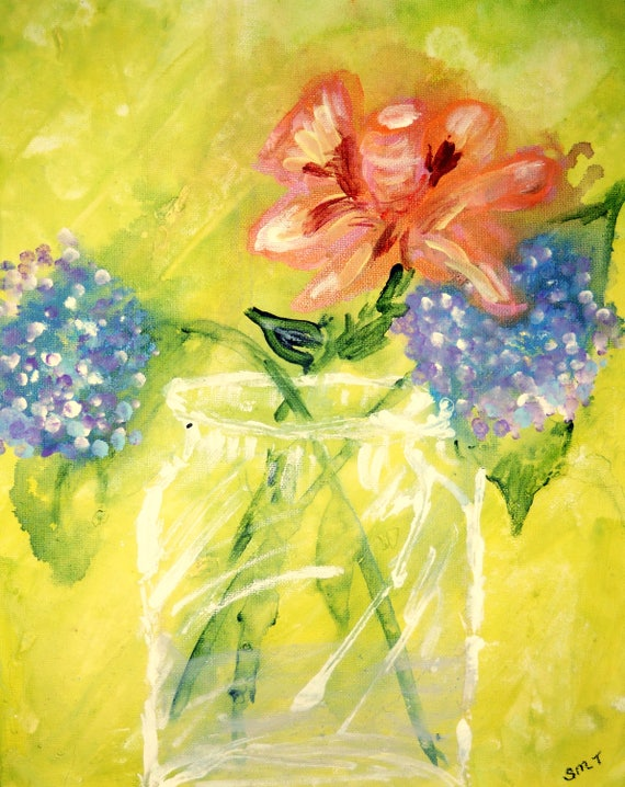 "Still Life - Acrylic Painting, ""Hydrangea & Rose,"" on 14 x 11"" Canvas Panel, by Artist Stacey Torres"