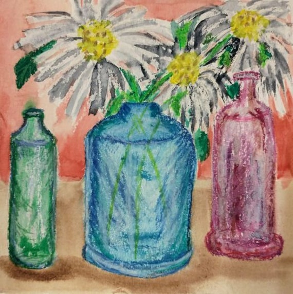 "Watercolors & Oil Pastel Painting Still Life on 6x6"" watercolor paper, colored bottles with daisies, by Artist Stacey Torres, flowers"
