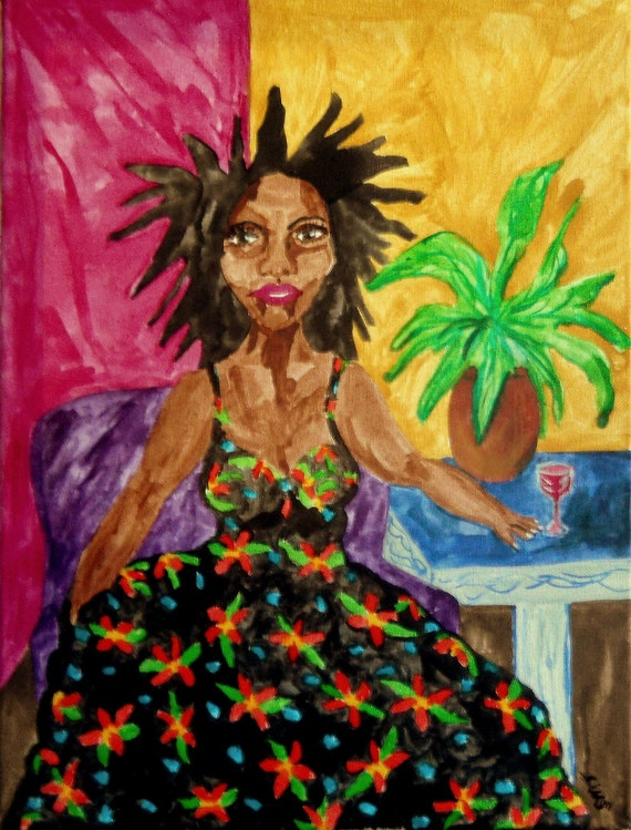 A PORTRAIT OF ENID, pigmented India Ink, Naive Outsider Art African American Folk Art, Stacey Torres Artist