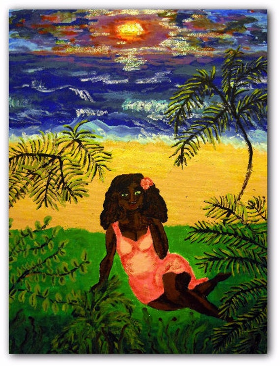 CREATURE HABITS Painting Acrylic, 16x20 Framed Canvas Panel Ethnic Folk Art women of color, beach art, African American Artist Stacey Torres