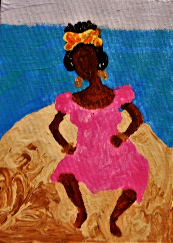 "Resting on a Barge, Acrylic Painting on 7 x 5"" Canvas Panel, Folk Art, Stacey Torres Artist, woman on sand barge, from Island Goddess Series"