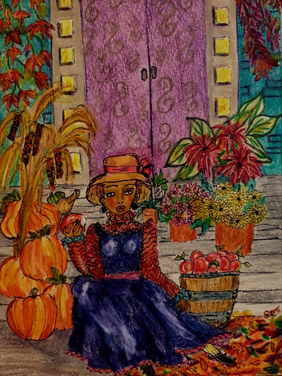 AUTUMN MORNING, by Outsider Folk Artist Stacey Torres, Black Woman seated on her steps with apples & pumpkins, Ink/Wash on Paper