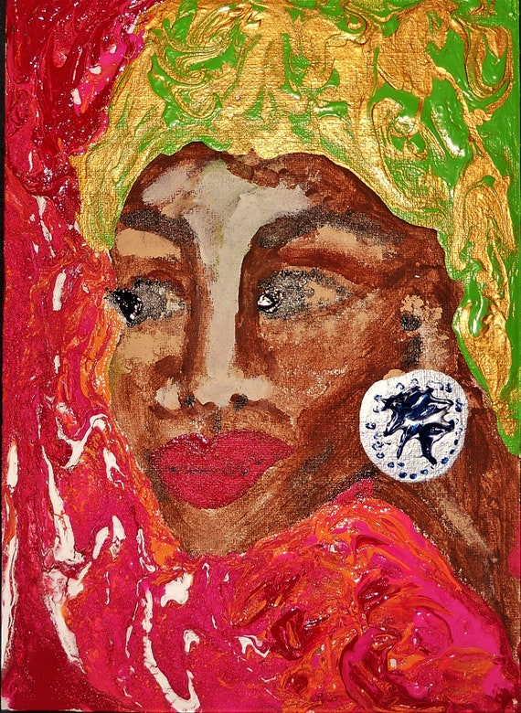 "MIRIAM, Acrylic Painting on 7 x 5"" Canvas Panel, Folk Art, Stacey Torres Ethnic Folk Art, from Island Goddess Series Afro-Caribbean Art"