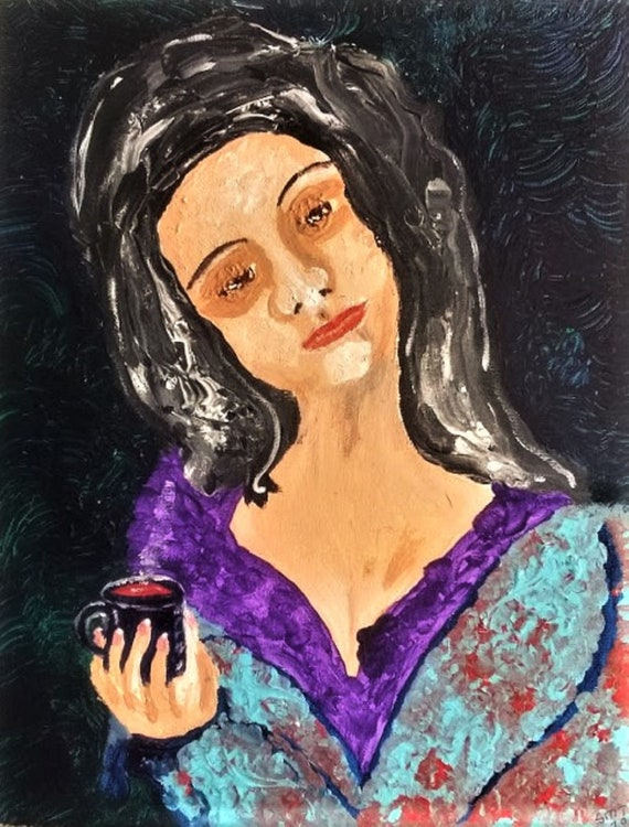 """Original Portrait - """"WTF JUST HAPPENED?,"""" Acrylic Painting, 14 x 11"""" Canvas. Outsider Art, by Folk Artist Stacey Torres, women's art"""