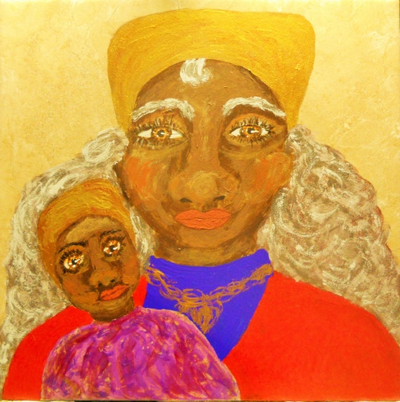 ooak Acrylic Portrait on Ceramic Tile Lady Anne and Her Royal Grandson Ethnic Primitive Folk Art women of color African American Art Madonna