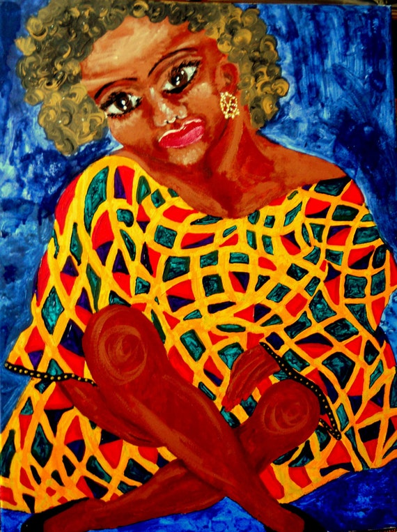 "Acrylic Painting Afrocentric Woman, 24 x 18"" Canvas , ""Aurelie"" Ethnic Folk Art  by African American Artist Stacey Torres"