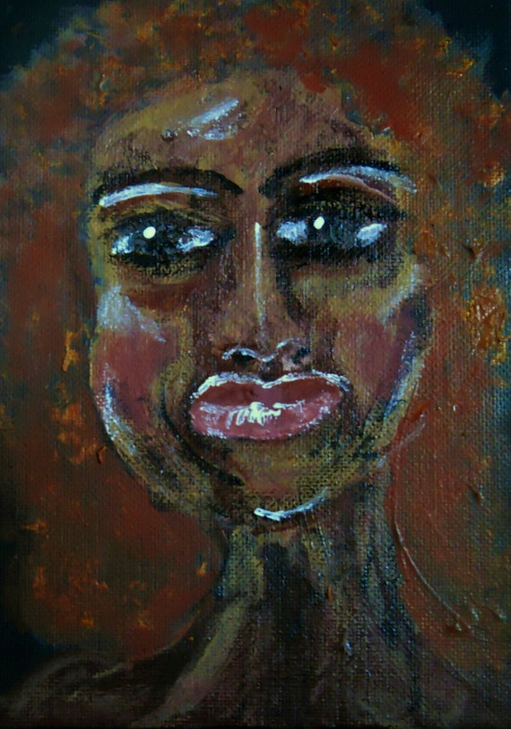 "Acrylic Painting on 7 x 5"" canvas panel, ""AN OLD SETTLER,"" Outsider Folk Art, portrait of woman by African American Artist Stacey Torres"