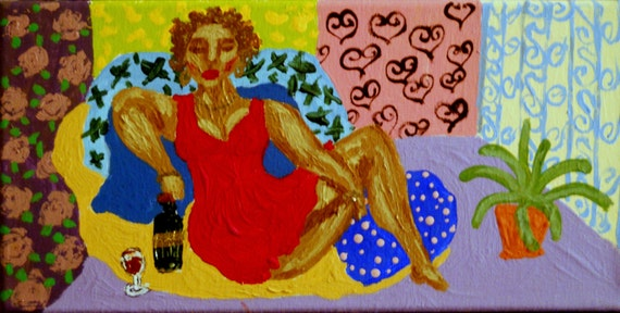 "IVA - Acrylic on 12 x 6"" Stretched Canvas Ethnic Folk Art Woman Lounging on Pillows African American Artist Stacey Torres"