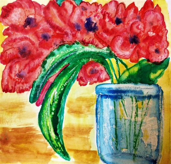 "Watercolors & Oil Pastel Painting Still Life on 6x6"" watercolor paper, rich coral Orchids in a blue jar, by Artist Stacey Torres, flowers"