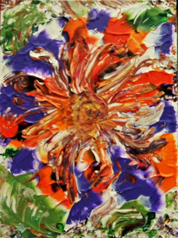 "OCTOPUS GARDEN 1, Acrylic & Enamel Floral Painting, Abstract Expressionism, bright tropical colors on a 12 x 9"" canvas panel"