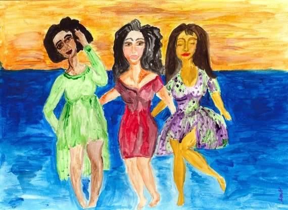 "Last Evening in Bimsha - Ethnic Folk Art women of color African American Art Watercolors on 11 x 15"" paper"