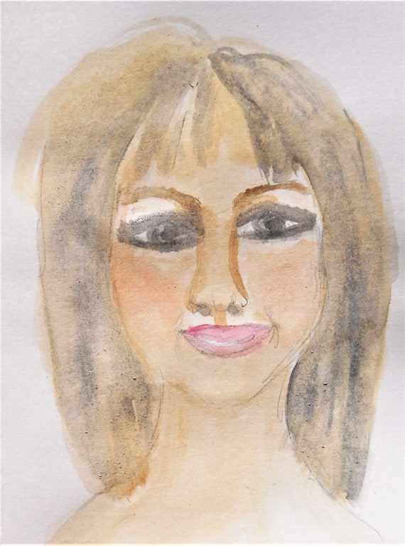 Original Hand Painted Blank Note/Greeting Card w/Envelope, Watercolor Painting, Signed Artwork by Stacey Torres, PORTRAIT OF JENNY