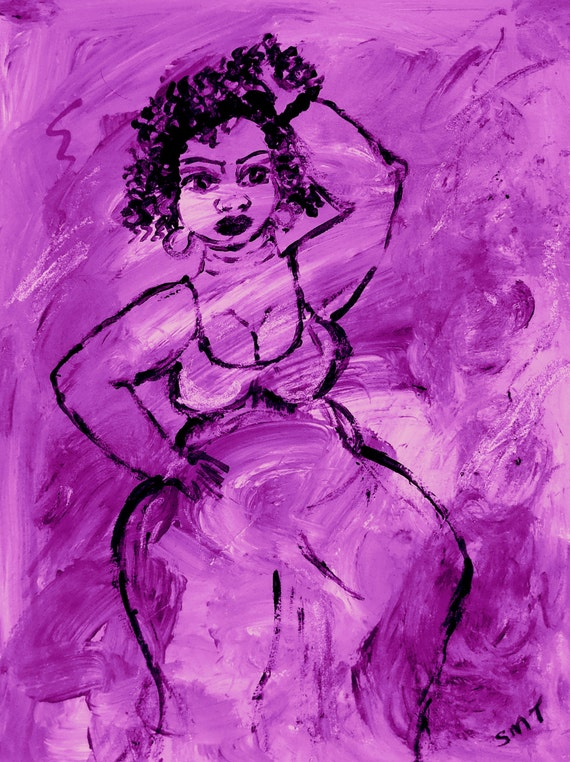 "Original Acrylic Abstract Painting, ""ORCHID WINE,"" Black Art, African American Artist Stacey Torres, 15 x 11"" watercolor paper, Purple Lady"