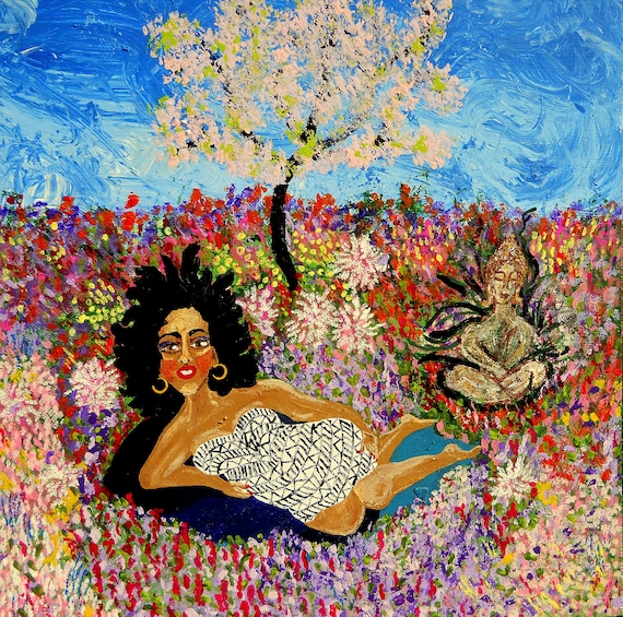 "KITAKA (Earth Goddess) Acrylic, Fantasy Garden Folk Art Painting 23.5 x 23.5"" wood panel, Ethnic Art woman; Artist Stacey Torres"