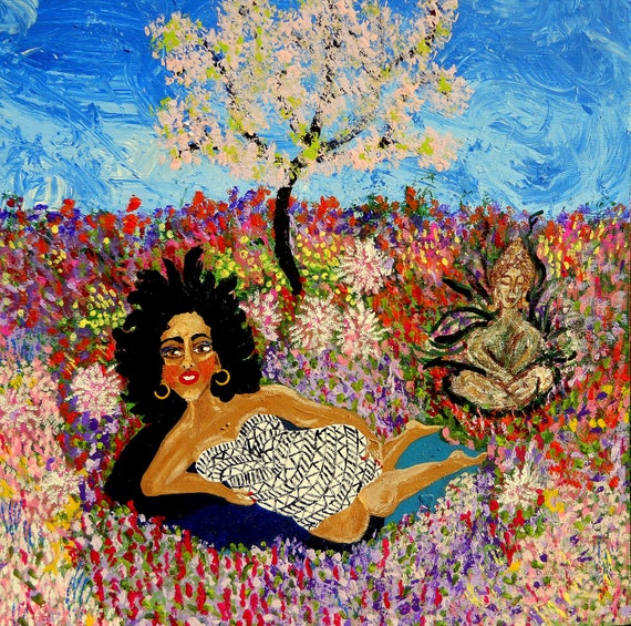 "KITAKA (Earth Goddess) Acrylic w/Glitter, Fantasy Garden Figurative Painting 23.5x23.5"" wood panel, Ethnic Art woman; Artist Stacey Torres"