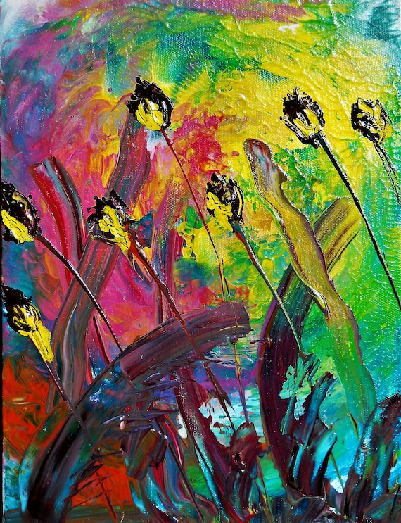 "NOSY NEIGHBORS, Acrylic Painting w/palette knife on 12 x 9"" Canvas Panel,  Abstract Impressionism, Stacey Torres Artist, Floral Art Flowers"