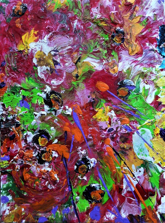 "SUMMER MADNESS 1, Acrylic Painting w/palette knife on 12 x 9"" Cotton Canvas,  Abstract Impressionism, Stacey Torres Artist, Bright Flowers"