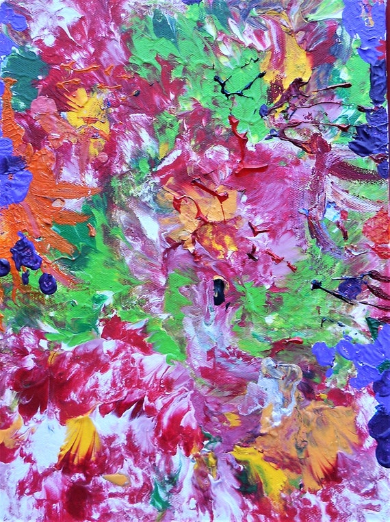 "SUMMER MADNESS 2, Acrylic Painting w/palette knife on 12 x 9"" Cotton Canvas,  Abstract Impressionism, Stacey Torres Artist, Bright Flowers"