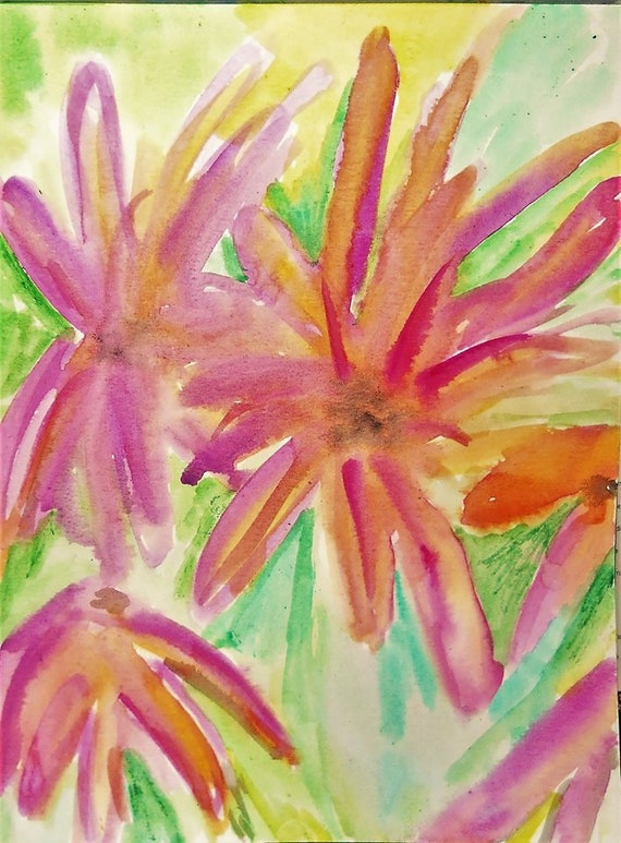 Original Watercolor Painting Abstract Flowers by Award Winning Artist Stacey Torres
