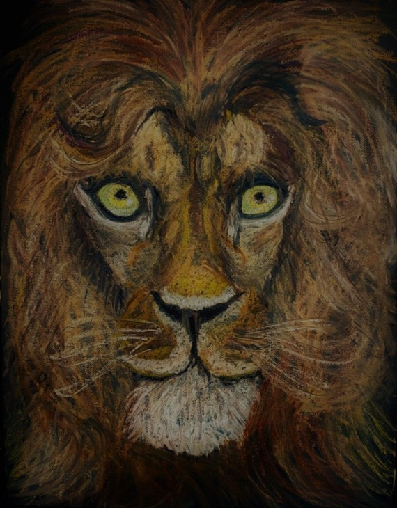 """Stylized Oil Pastel, """"HRH SUNNI ALI,"""" a brave young lion on 12x16"""" canvas panel, by Stacey Torres, artist, animals, pet portrait, browns"""