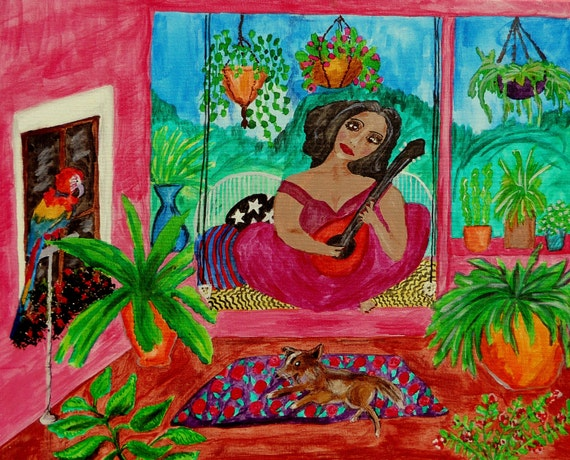 "The Pink Stucco Porch, pigmented India Ink on 20x16"" (framed) canvas, Outsider Art African American Folk Art, Stacey Torres Artist"