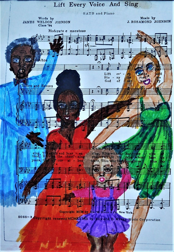 "Archival Giclee Print of Original Ink Drawing on Sheet Music, ""LIFT EVERY VOICE,'' (framing available) by Hoosier Folk Artist Stacey Torres"