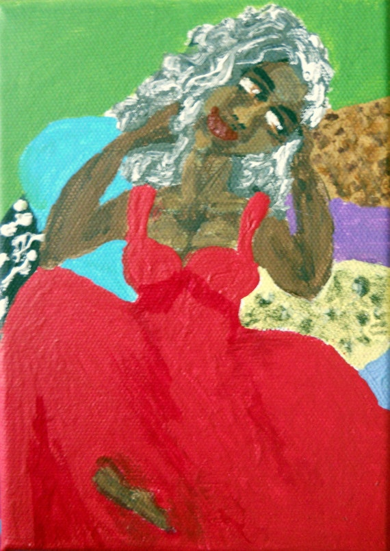 "STELLA - Acrylic painting on 5x7"" canvas, woman in red gown on pillows, by Award Winning Outsider Folk Artist, Stacey Torres"