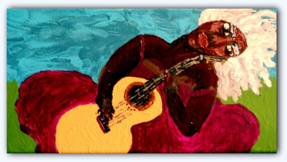 "ALDENORA - Acrylic on 12 x 6"" Canvas Ethnic Folk Art Dark Skinned Woman With Silver Hair and Guitar African American Artist Stacey Torres"