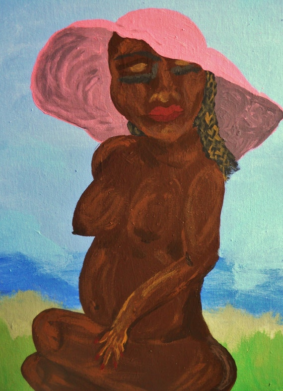 "FABULOUS IN PINK, Acrylic painting of a nude Black woman on 16x20"" Canvas Panel, African American Artist Stacey Torres"