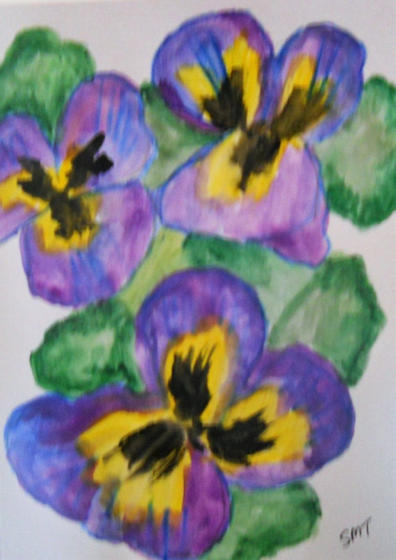 Original Hand Painted Blank Note/Greeting Card w/Envelope, Watercolor Painting, Signed Artwork by Stacey Torres, Card 23 Pansies