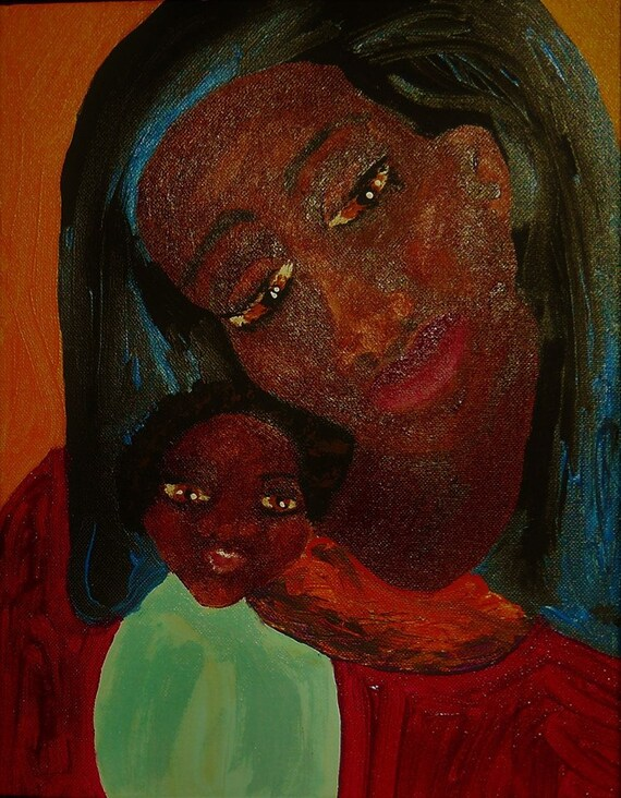 "MADONNA of the MAASAI, Acrylic Portrait on 14 x 11"" canvas panel, Outsider Folk Artist Stacey Torres, Black Madonna, Religious Art"
