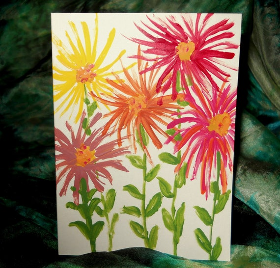 Original Hand Painted Blank Note/Greeting Card, Acrylic Painting, Spider ZINNIA 1, Folk Art Keepsake Signed Artwork by Stacey Torres