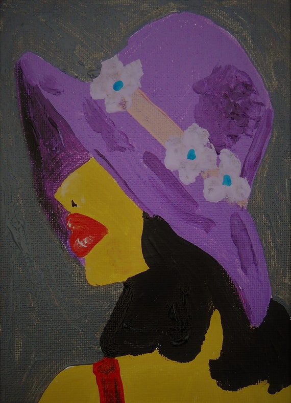 "HER PURPLE HAT, Acrylic Painting on 7 x 5"" Canvas Panel, by Award Winning Folk Artist Stacey Torres, black women, art, portrait, purple, hat"