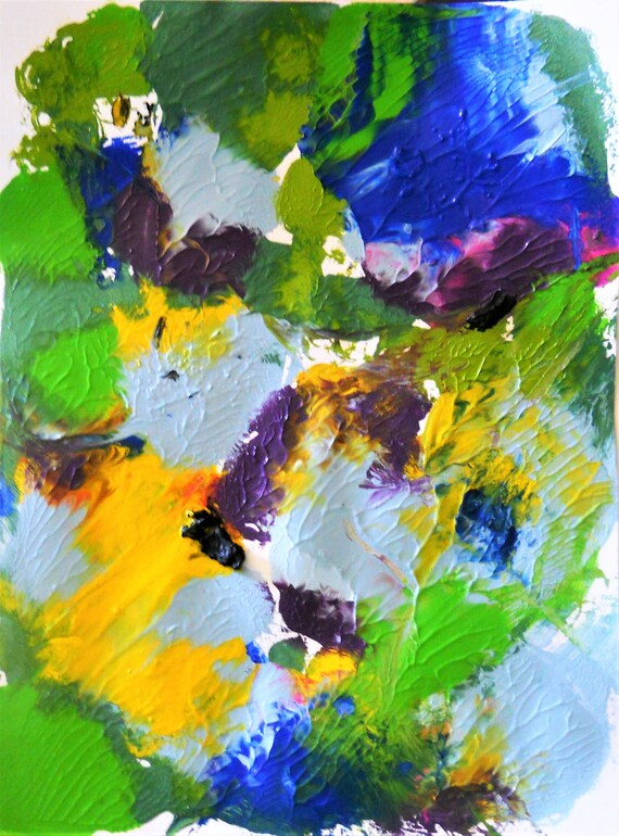 """PANSIES 1 & 2 Abstract Acrylic Flower Painting on 12 x 9"""" mix media paper, acrylic, by Outsider Stacey Torres Artist, Flowers (2 Pieces)"""