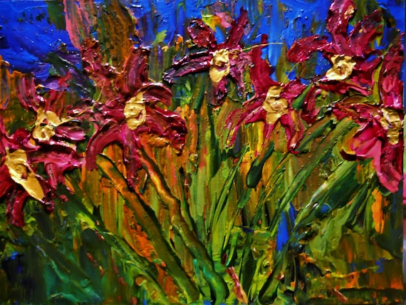 "WILD THINGS, Acrylic Painting w/palette knife on 9 x 12"" Canvas Panel,  Abstract Impressionism, Stacey Torres Artist, Floral"