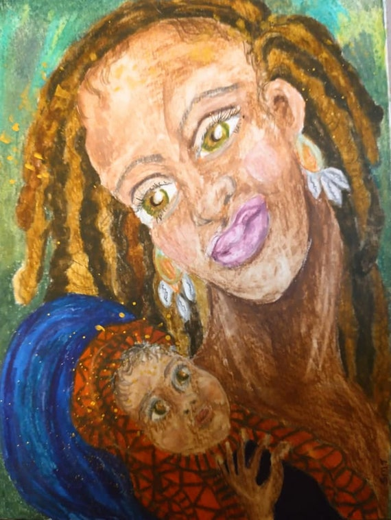 BLESSED EVENT, by Outsider Folk Artist Stacey Torres, OOAK Black Madonna, Religious Art, Derwent Watercolor Pencils on Paper