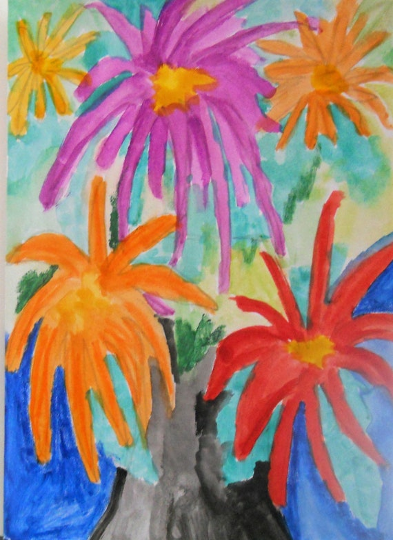 Original Hand Painted Blank Note/Greeting Card w/Envelope, Watercolor Painting, Signed Artwork by Stacey Torres, Card 19