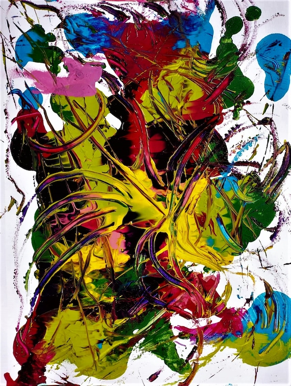 """MORNING MAYHEM 2 Abstract Acrylic Flower Painting on 12 x 9"""" mix media paper, acrylic, by Outsider Stacey Torres Artist, Flowers"""