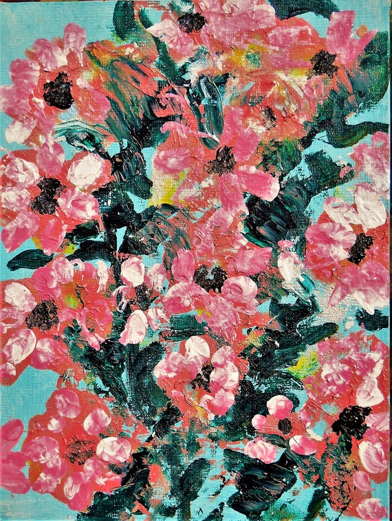 "THE SISTER BUSH, Acrylic Painting w/palette knife on 12 x 9"" Canvas Panel,  Abstract Impressionism, Stacey Torres Artist, Floral Art, pinks"