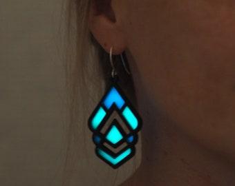Glow in the Dark Earrings - Glowing Earrings - Jewelry - Geometrical Earrings - Black Earrings - Art Deco Earrings - Symmetrical Earrings