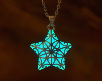 aqua glow in the dark star necklace small glowing necklace christmas gifts for her unique gifts christmas gifts for kids celestial
