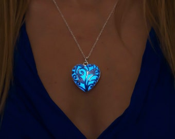 a43328f1ea8 Blue Glow Necklace - Blue Jewelry - Blue Necklace - Gift for Mom - Gift Mom  - Girlfriend Gift - Something Blue - Jewelry - Necklace - Heart