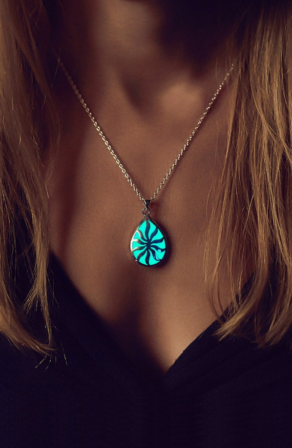 Glowing Necklace For Her Turquoise Glow In The