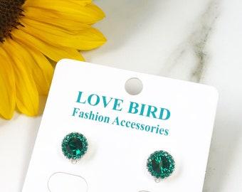 73478a5ec Stud Earrings, Crystal Studs, Crystal Earrings, Emerald Green Earrings,  Green Crystal Studs, Small Round Earrings, Bridesmaid Earrings
