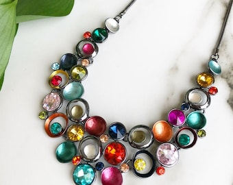 Multicolor Statement Necklace, Necklace For Woman, Statement Jewelry, Chunky Necklace, Bib Necklace, Colorful Necklace, Gift For Woman, Bold