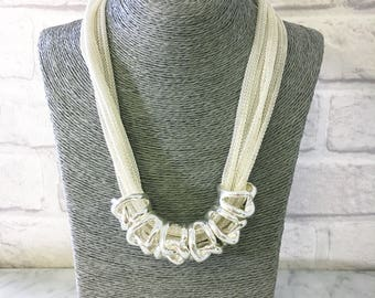 Silver Statement Necklace, Short Necklace, Silver Choker Necklace, Chunky Chain Necklace, Multi Chain Necklace, Thick Link Necklace