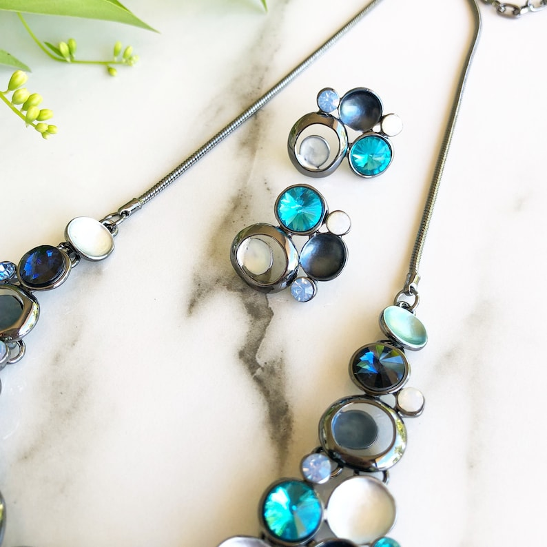 Chunky Necklace Blue Statement Necklace Enamel Necklace Gift Crystal Necklace Statement Jewellery Necklaces For Women Jewellery Set