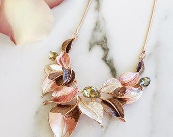 Rose Gold Necklace, Statement Necklace, Pink Necklace, Leaf Necklace, Bib Necklace, Enamel Necklace, Crystal Necklace, Gift For Bridesmaids