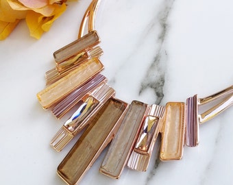 Rose Gold Statement Necklace, Resin Necklace, Chunky Fashion Necklace, Big Bold Necklace, Necklaces For Women, Resin Jewellery, Bib Necklace